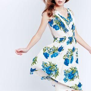 Boden Blue Floral Swishy Dress EUC! Sz. 10 US